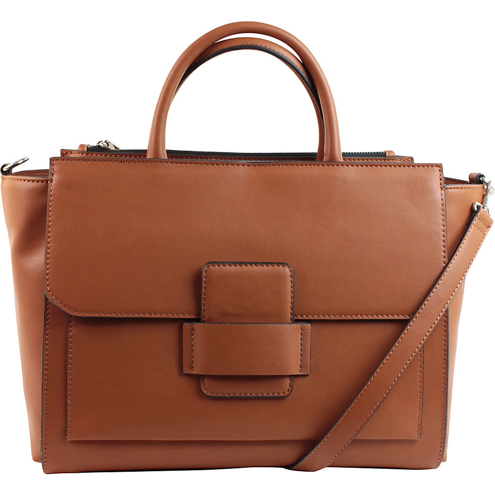 Emilie M Allie Satchel with Detachable Shoulder Strap Cognac Emilie M Manmade Handbags