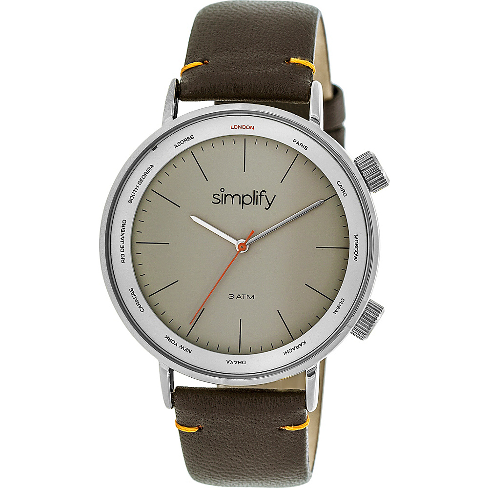 Simplify The 3300 Unisex Watch Dark Brown Silver Grey Simplify Watches
