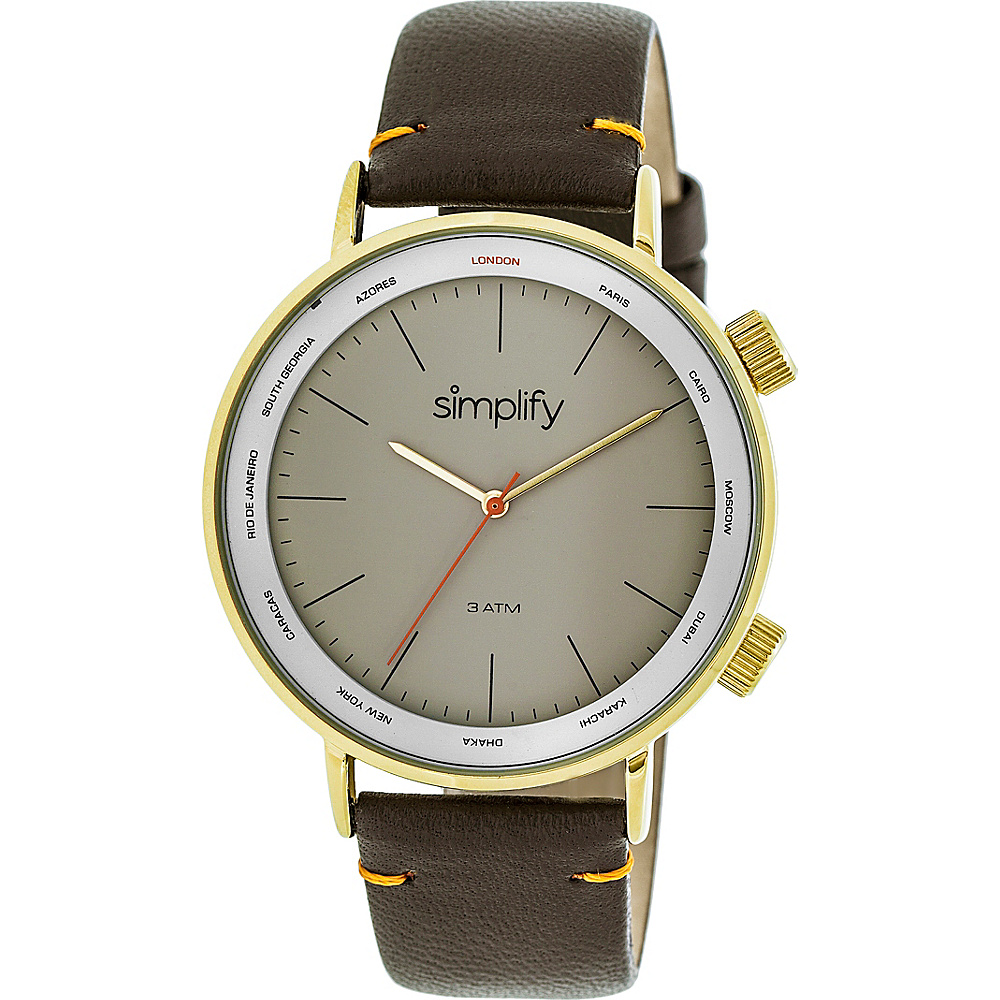 Simplify The 3300 Unisex Watch Dark Brown Gold Grey Simplify Watches
