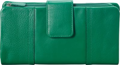 Mancini Leather Goods RFID Secure Collection: Ladies Large Clutch Wallet Apple Green - Mancini Leather Goods Women's Wallets