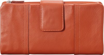 Mancini Leather Goods RFID Secure Collection: Ladies Large Clutch Wallet Rust - Mancini Leather Goods Women's Wallets
