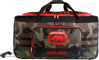 Ecko Unltd United 32 inch Large Check In Rolling Duffel Bag Camo/Red - Ecko Unltd Rolling Duffels