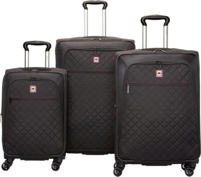 DELSEY Quilted 3 Piece Spinner Luggage Set - EXCLUSIVE Bl...