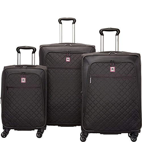 delsey quilted 3 piece spinner luggage set exclusive. Black Bedroom Furniture Sets. Home Design Ideas