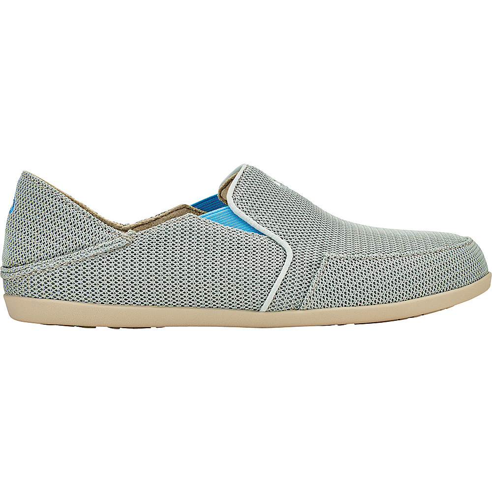 OluKai Womens Waialua Mesh Slip-On 8 - Pale Grey/Tide Blue - OluKai Womens Footwear - Apparel & Footwear, Women's Footwear