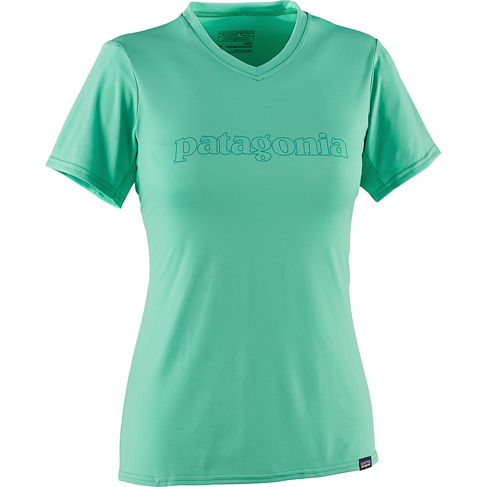 Patagonia Womens Capilene Daily Graphic T-Shirt XS - Outline Text Logo: Galah Green - Patagonia Womens Apparel - Apparel & Footwear, Women's Apparel