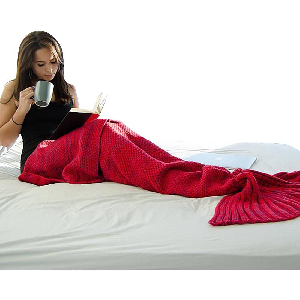 Koolulu Mermaid Blanket Red Koolulu Travel Pillows Blankets