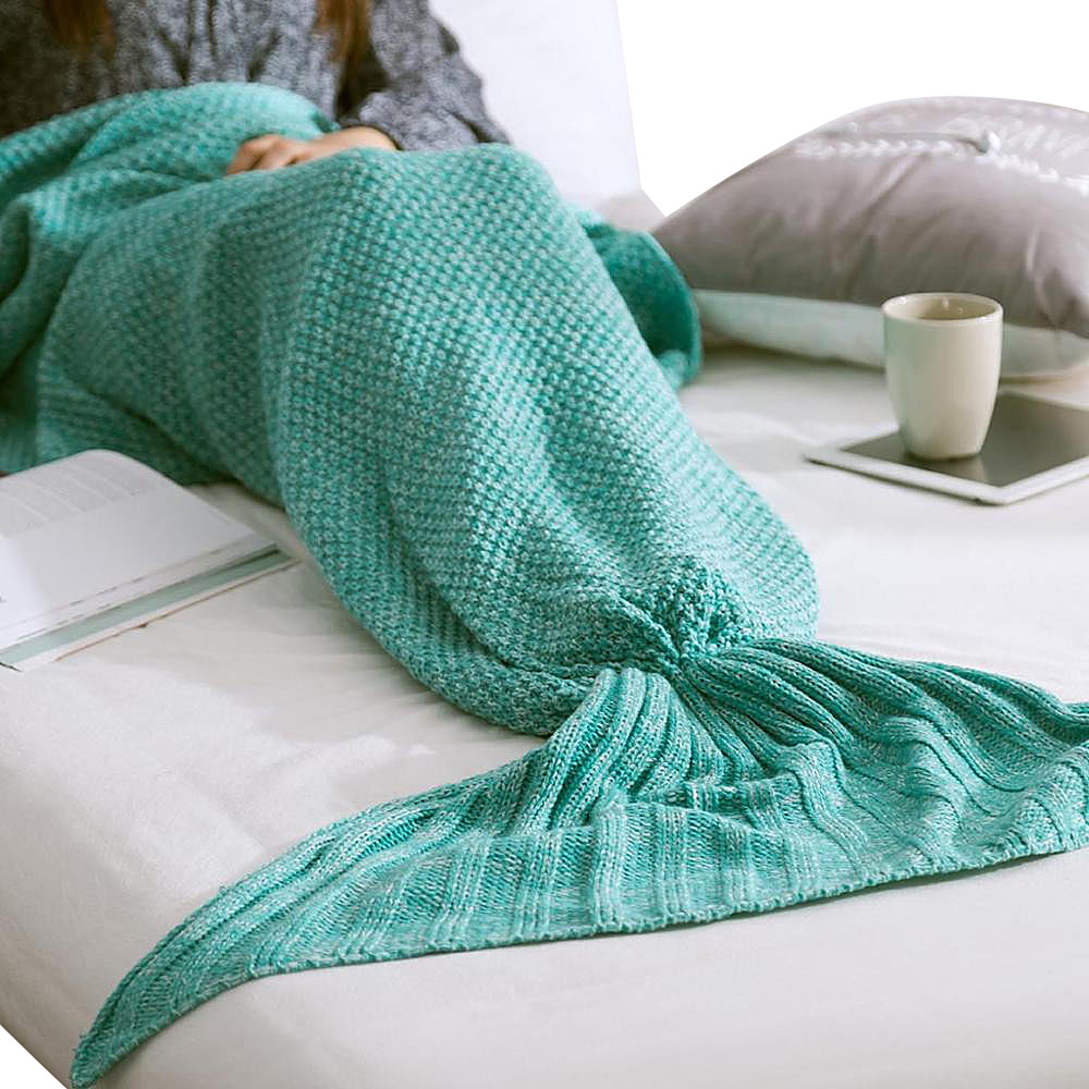 Koolulu Mermaid Blanket Green Koolulu Travel Pillows Blankets