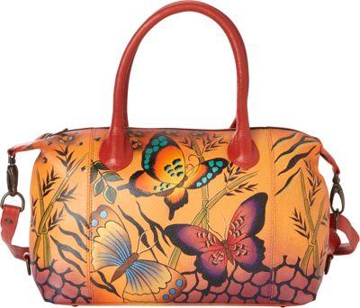 ANNA by Anuschka Hand Painted Medium Satchel Animal Butterfly Tan - ANNA by Anuschka Leather Handbags
