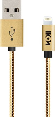 IKON MFI Lightning Metal Coil Cable with Aluminum Alloy Tip 1 Meter Gold - IKON Electronic Accessories