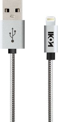 IKON MFI Lightning Metal Coil Cable with Aluminum Alloy Tip 1 Meter Silver - IKON Electronic Accessories