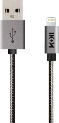 IKON MFI Lightning Metal Coil Cable with Aluminum Alloy Tip 1 Meter Black - IKON Electronic Accessories