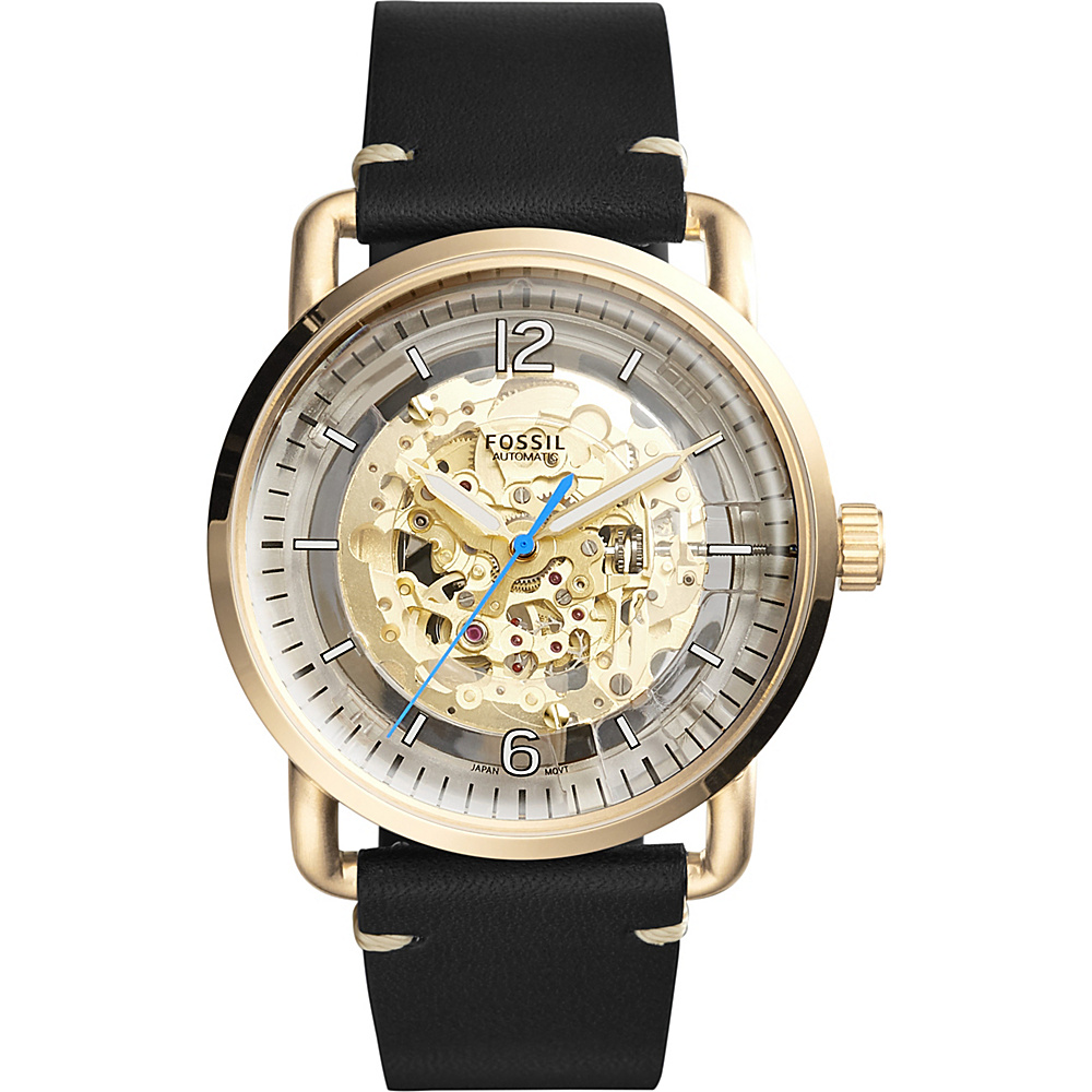 Fossil The Commuter Automatic Leather Watch Black - Fossil Watches - Fashion Accessories, Watches
