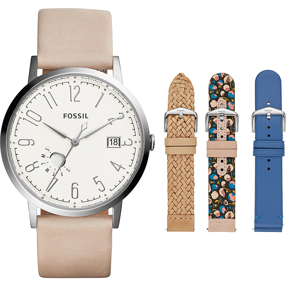 Fossil Vintage Muse Chronograph Leather Watch Set Pink - Fossil Watches - Fashion Accessories, Watches