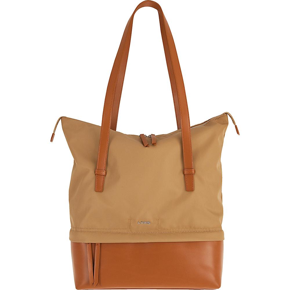 Lodis Kate Nylon Under Lock & Key Barbara Commuter Tote Light Brown - Lodis Fabric Handbags - Handbags, Fabric Handbags