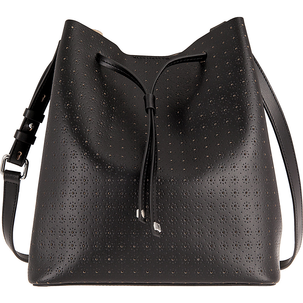 Lodis Blair Perf Gail Medium Drawstring Black/Taupe - Lodis Leather Handbags - Handbags, Leather Handbags
