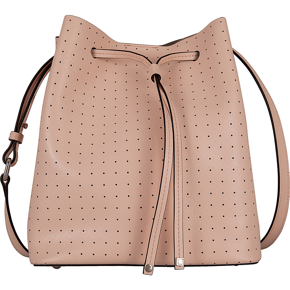 Lodis Blair Perf Gail Medium Drawstring Blush/ Taupe - Lodis Leather Handbags - Handbags, Leather Handbags