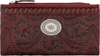 American West Ladies' Folded Wallet Distressed Crimson - American West Women's Wallets
