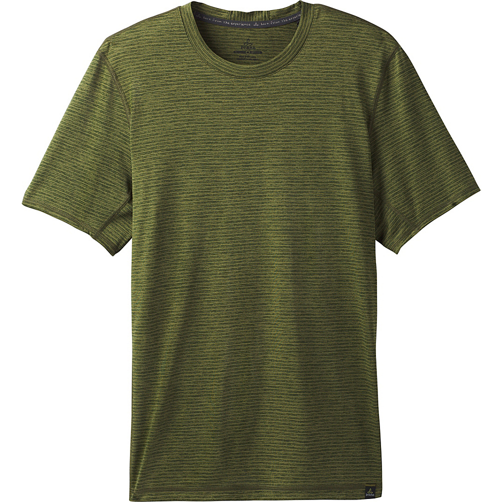 PrAna Hardesty Short Sleeve T-Shirt XS - Fern Green Stripe - PrAna Mens Apparel - Apparel & Footwear, Men's Apparel