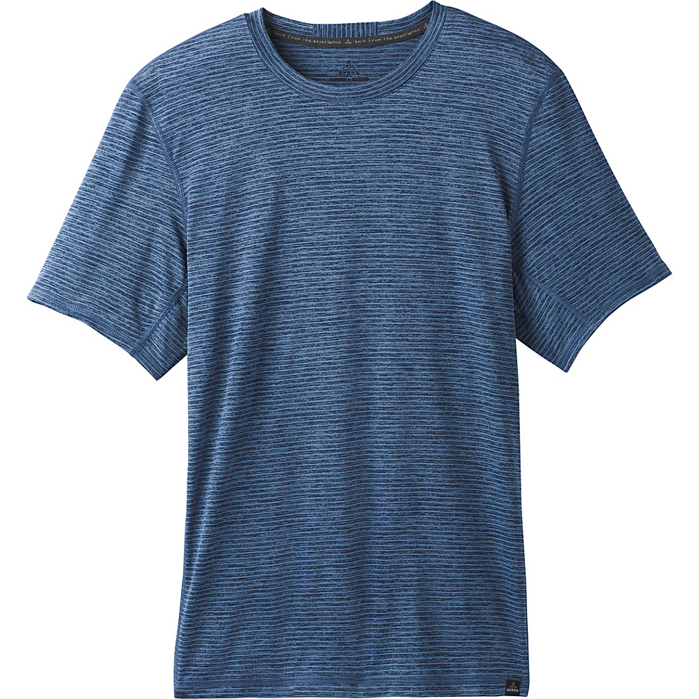 PrAna Hardesty Short Sleeve T-Shirt XXL - Sunbleached Blue Stripe - PrAna Mens Apparel - Apparel & Footwear, Men's Apparel