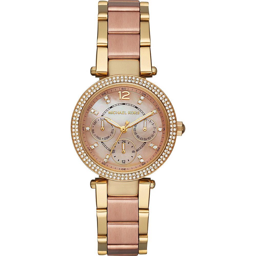 Michael Kors Watches Mini Parker Two Tone Multifunction Watch Gold/rose Gold Michael Kors Watches Watches