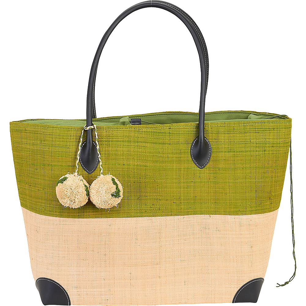 Sun N Sand Raffia Madagascar Handbag Tote Pistachio - Sun N Sand Straw Handbags - Handbags, Straw Handbags