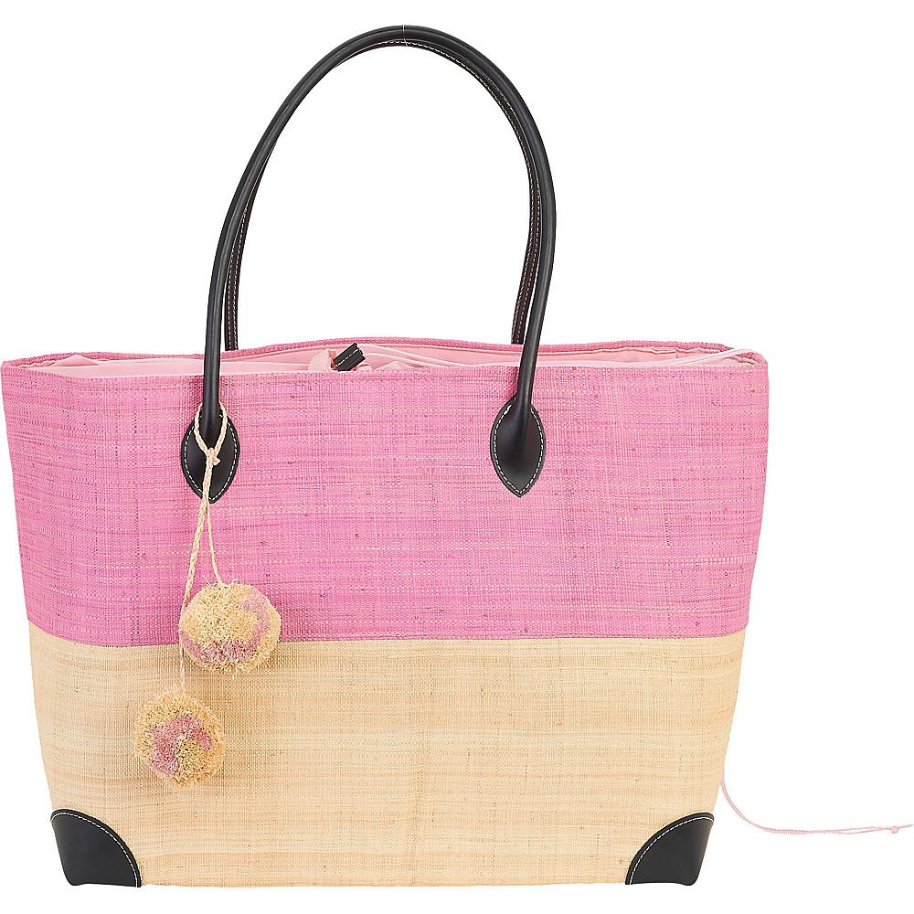 Sun N Sand Raffia Madagascar Handbag Tote Light Pink - Sun N Sand Straw Handbags - Handbags, Straw Handbags