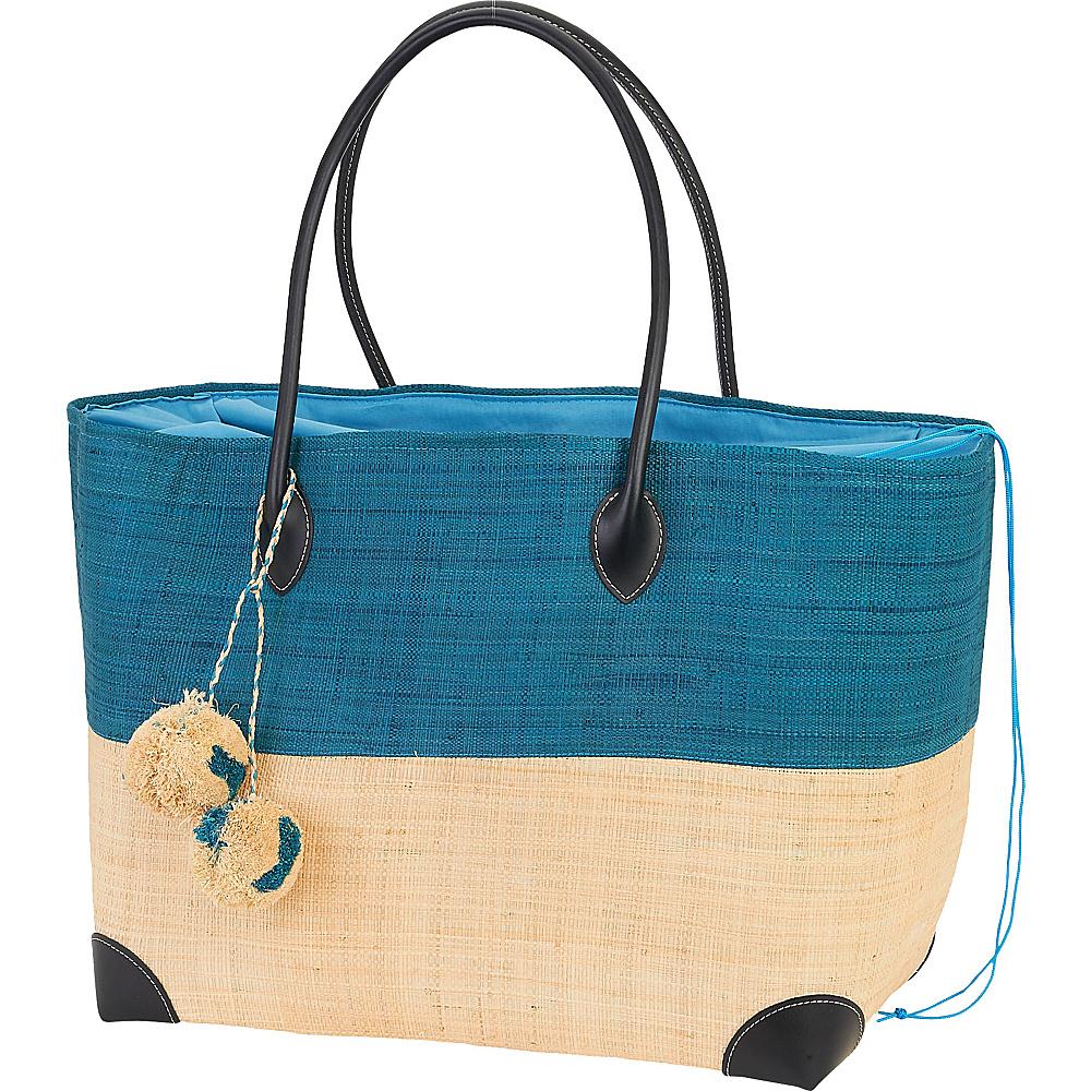 Sun N Sand Raffia Madagascar Handbag Tote Turquoise - Sun N Sand Straw Handbags - Handbags, Straw Handbags