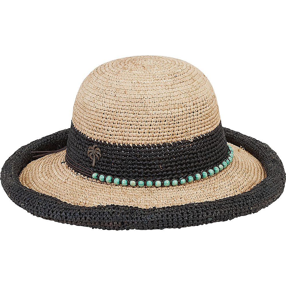 Sun N Sand Natural Raffia Finely Crocheted Black - Sun N Sand Hats - Fashion Accessories, Hats