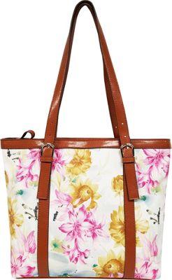 Bueno Printed Tote Blue & Yellow Flowers - Bueno Manmade Handbags