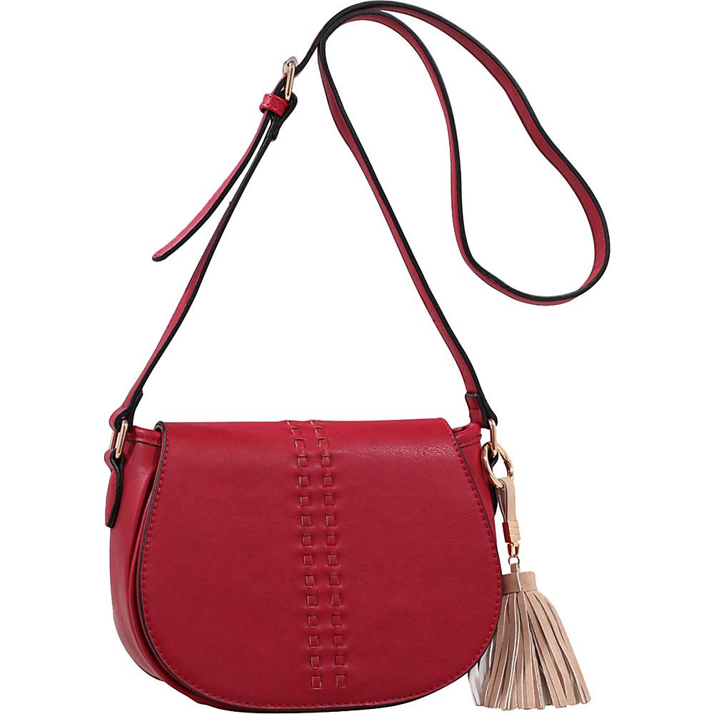 MKF Collection by Mia K. Farrow Rebecca Tassel Saddle Bag Burgundy - MKF Collection by Mia K. Farrow Leather Handbags - Handbags, Leather Handbags