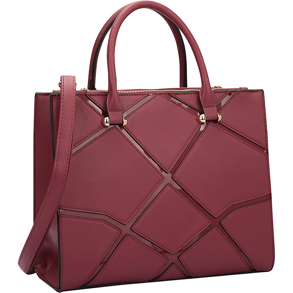 Dasein Medium Classic Satchel with Front Crosshatch Patch Burgundy - Dasein Manmade Handbags - Handbags, Manmade Handbags