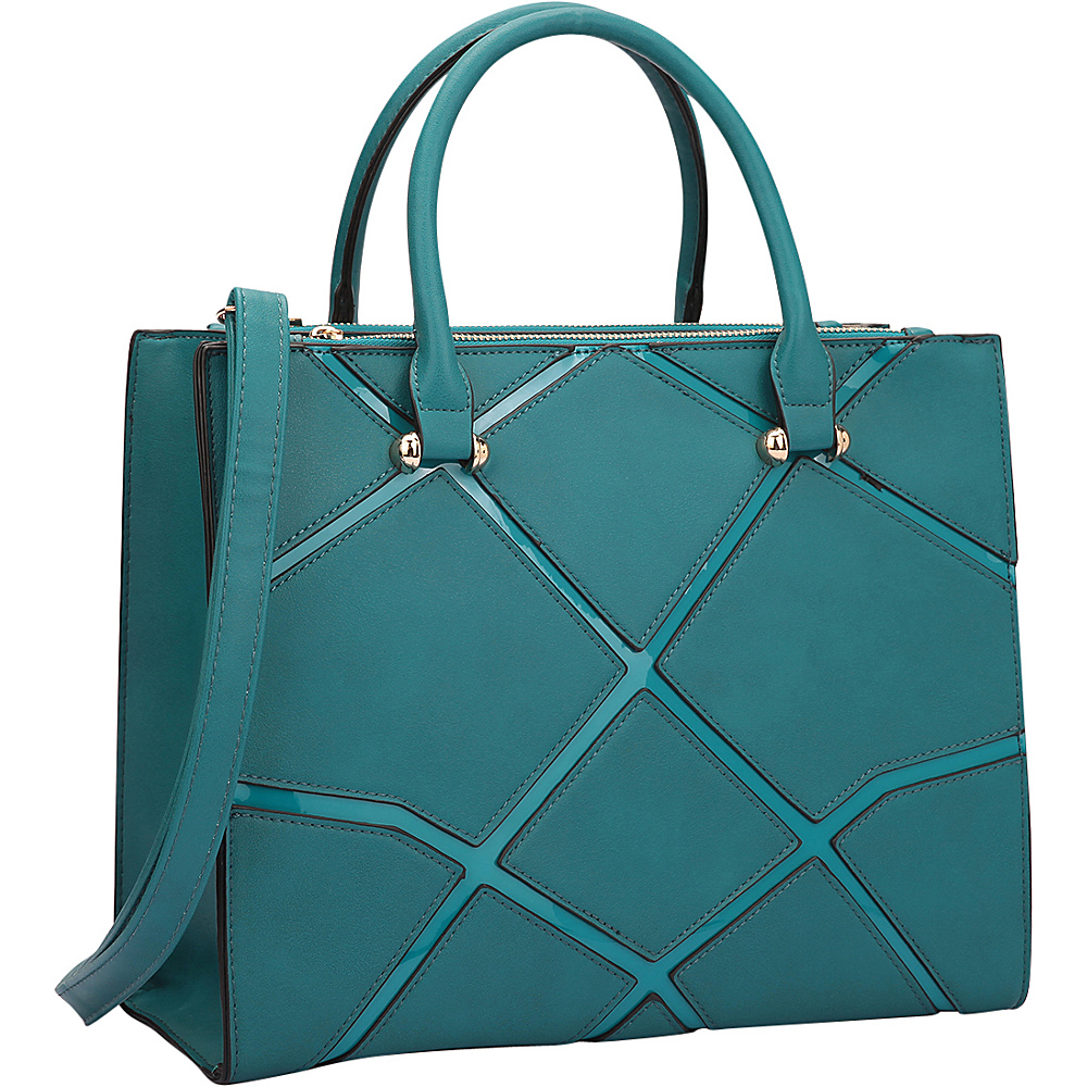 Dasein Medium Classic Satchel with Front Crosshatch Patch Turquoise - Dasein Manmade Handbags - Handbags, Manmade Handbags