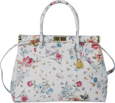 Sharo Leather Bags Floral Design Italian Leather Tote and Shoulder Bag Floral - Sharo Leather Bags Leather Handbags