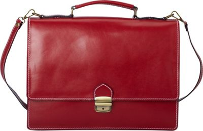 Sharo Leather Bags Thin Style Italian Leather Brief and Messenger Bag Apple Red - Sharo Leather Bags Non-Wheeled Business Cases