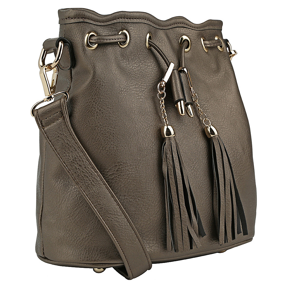 MKF Collection by Mia K. Farrow Amala Drawstring Cross Body Bag Pewter - MKF Collection by Mia K. Farrow Manmade Handbags - Handbags, Manmade Handbags