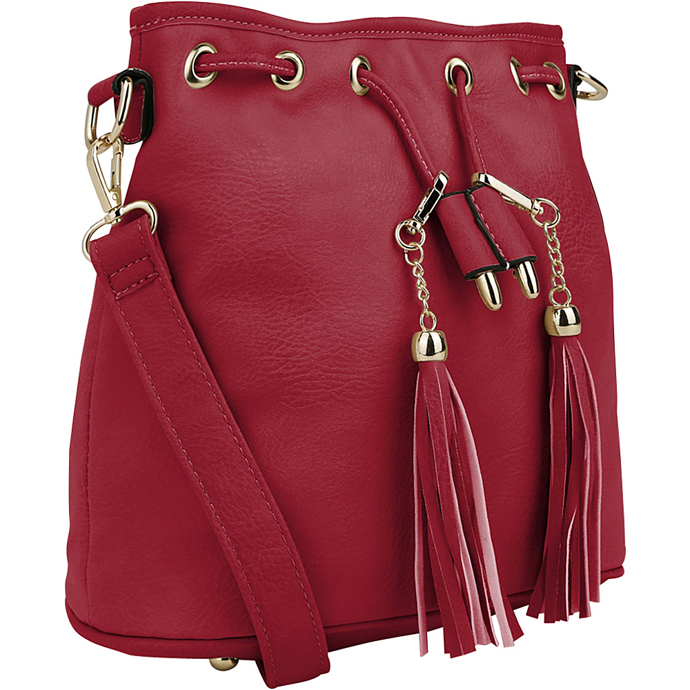 MKF Collection Amala Drawstring Cross Body Bag Red - MKF Collection Manmade Handbags - Handbags, Manmade Handbags