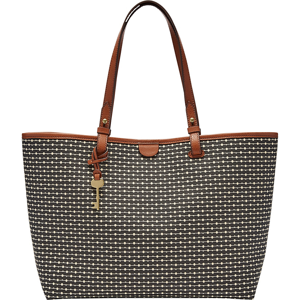 Fossil Rachel Tote Black Stripe - Fossil Leather Handbags - Handbags, Leather Handbags