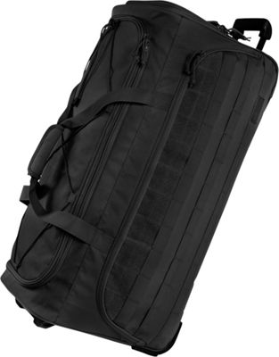 Highland Tactical 30 inch Squad Large Tactical Rolling Duffel Bag Black - Highland Tactical Travel Duffels