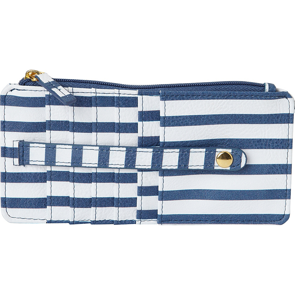 Buxton Americana Pik-Me-Up Thin Card Holder Blue Stripe - Buxton Womens Wallets - Women's SLG, Women's Wallets