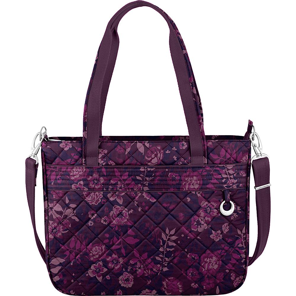 Travelon Anti-Theft Boho Tote Wine Rose/Fawn Interior - Travelon Fabric Handbags - Handbags, Fabric Handbags