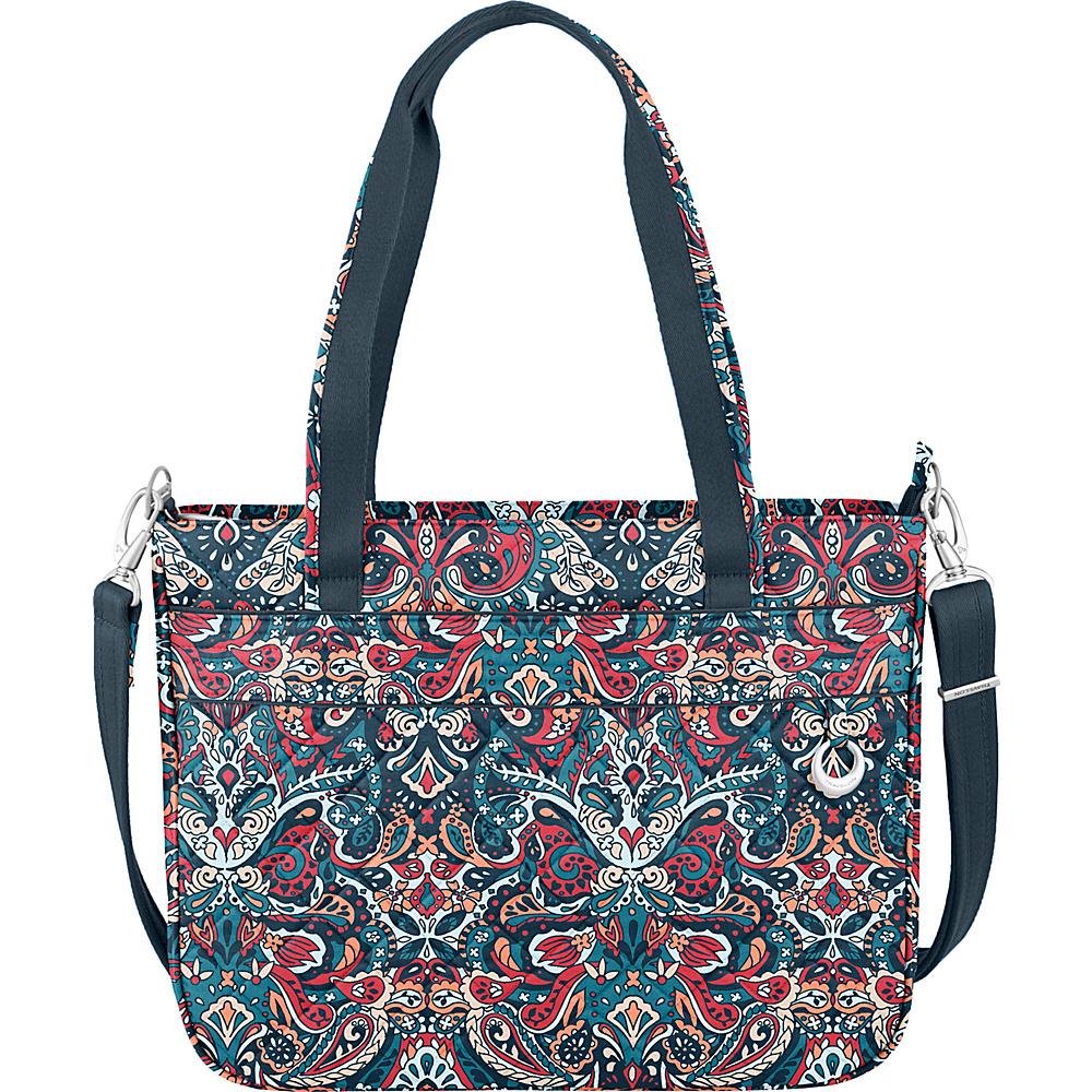 Travelon Anti-Theft Boho Tote Summer Paisley/Deep Turquoise Interior - Travelon Fabric Handbags - Handbags, Fabric Handbags