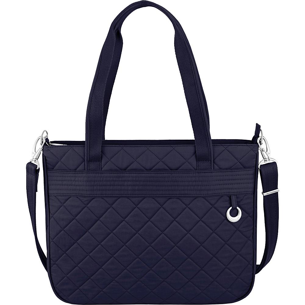 Travelon Anti-Theft Boho Tote Navy/Leaf Interior - Travelon Fabric Handbags - Handbags, Fabric Handbags