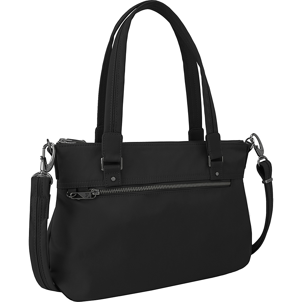 Travelon Anti-Theft Tailored Satchel Onxy/Royal Purple Interior - Travelon Fabric Handbags - Handbags, Fabric Handbags