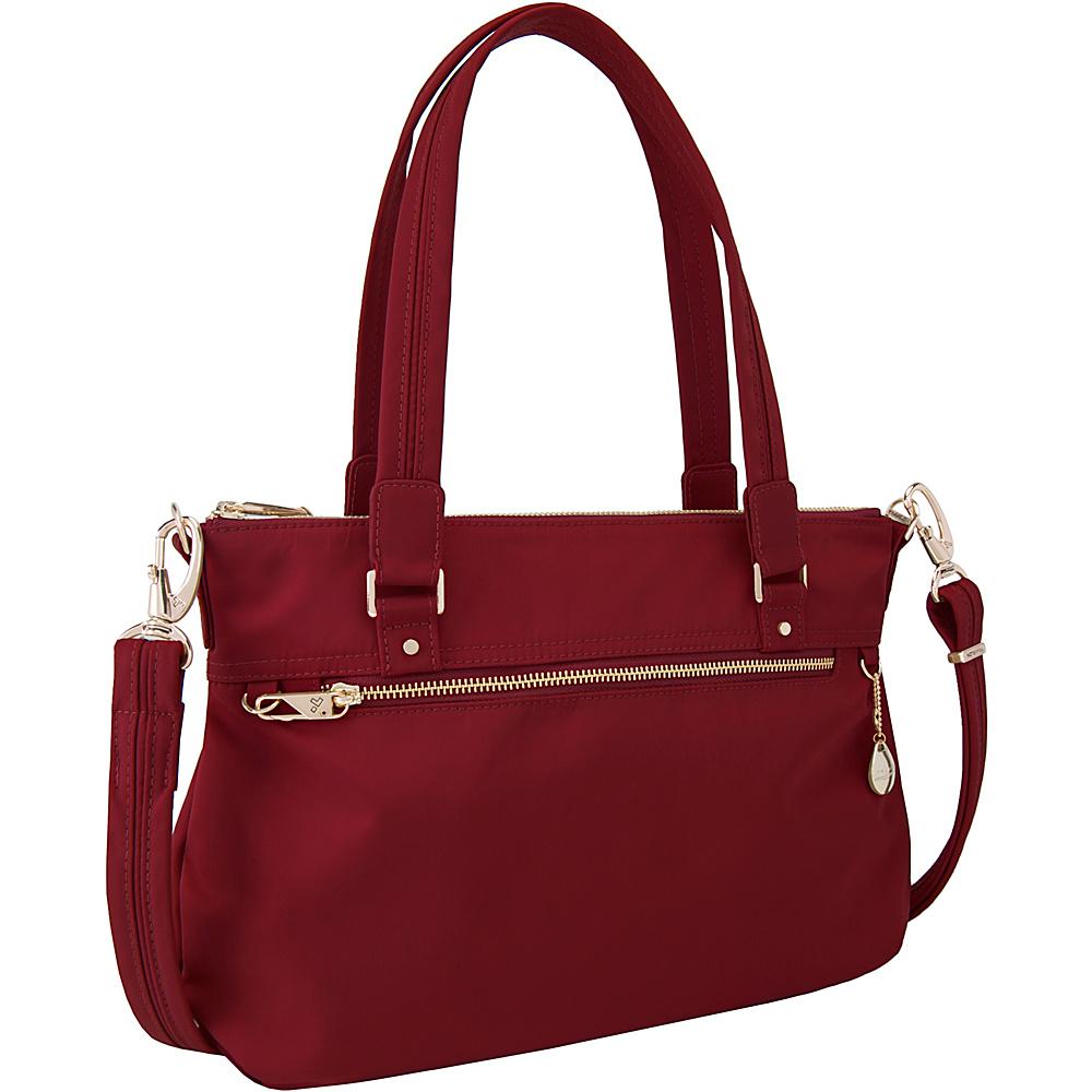 Travelon Anti-Theft Tailored Satchel Garnet/Dove Gray Interior - Travelon Fabric Handbags - Handbags, Fabric Handbags