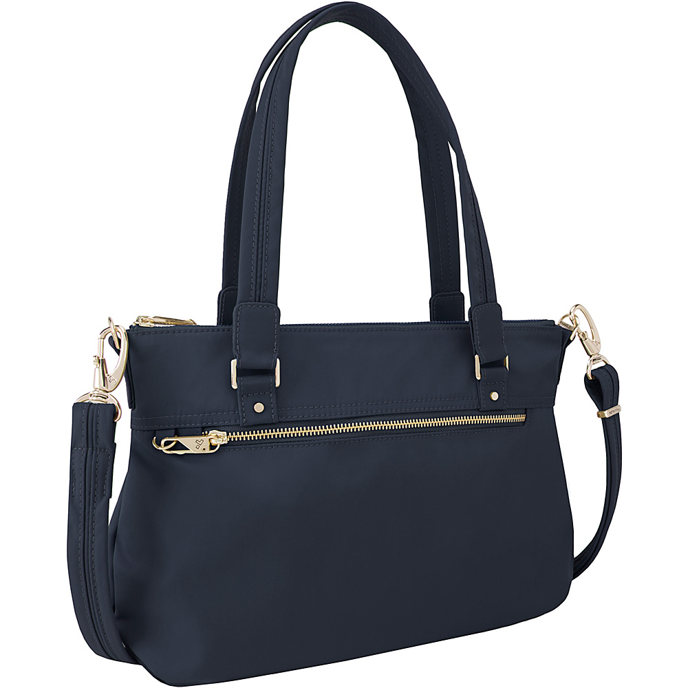 Travelon Anti-Theft Tailored Satchel Sapphire/Dove Gray Interior - Travelon Fabric Handbags - Handbags, Fabric Handbags