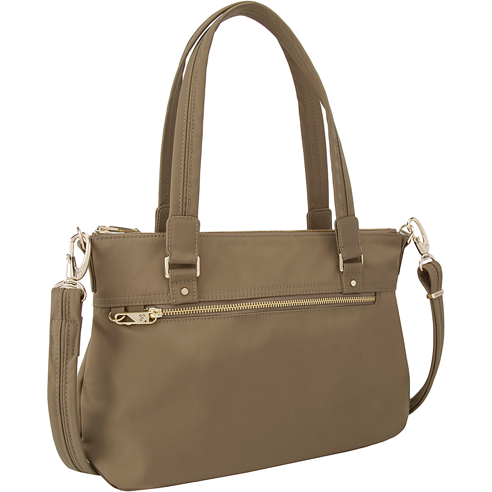 Travelon Anti-Theft Tailored Satchel Sable/Royal Purple Interior - Travelon Fabric Handbags - Handbags, Fabric Handbags