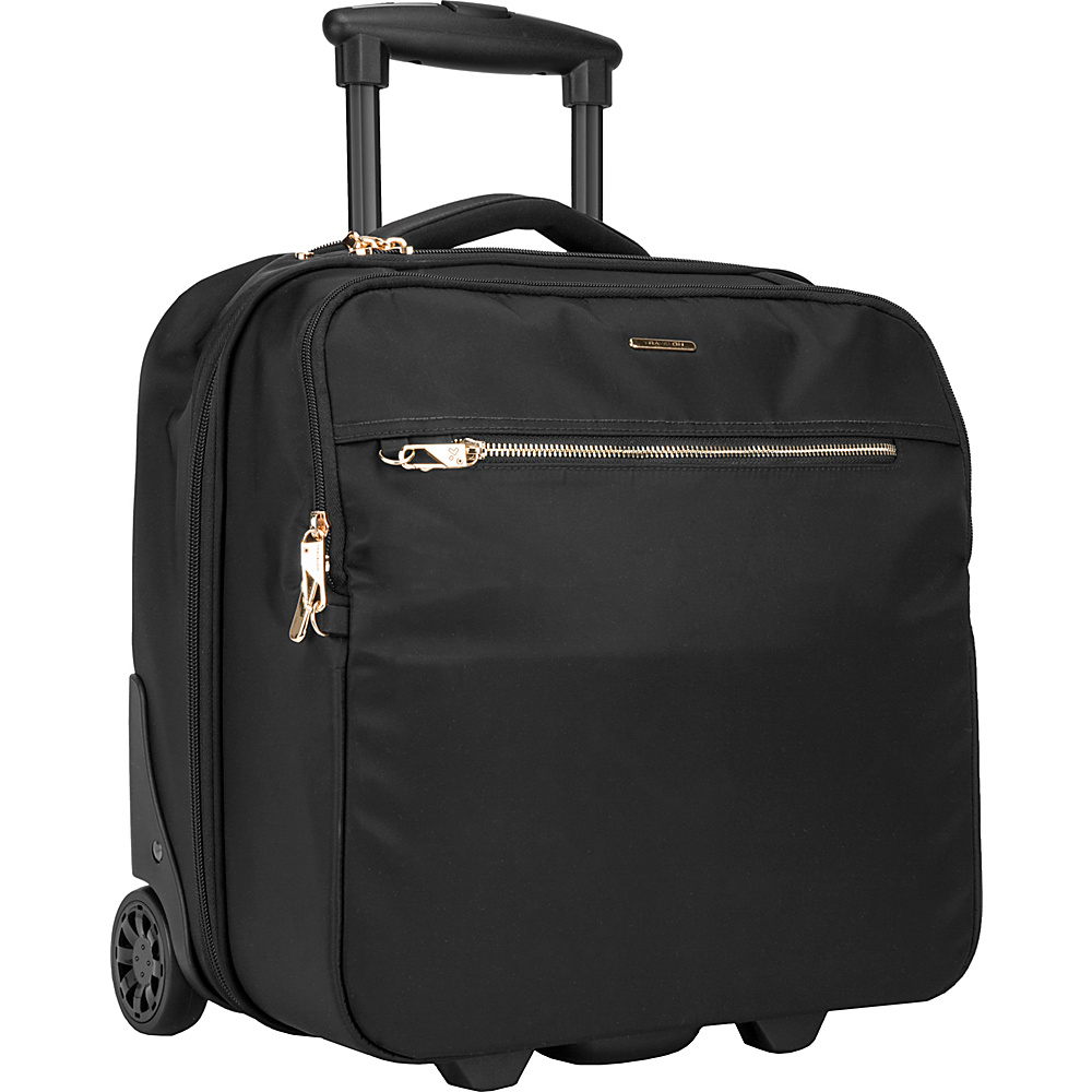 Travelon Anti-Theft Tailored Wheeled Underseat Carry-On Onxy/Dove Gray Interior - Travelon Softside Carry-On - Luggage, Softside Carry-On