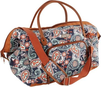 Fit & Fresh Weekender Travel Duffel Bag Navy Orange Paisley - Fit & Fresh Travel Duffels