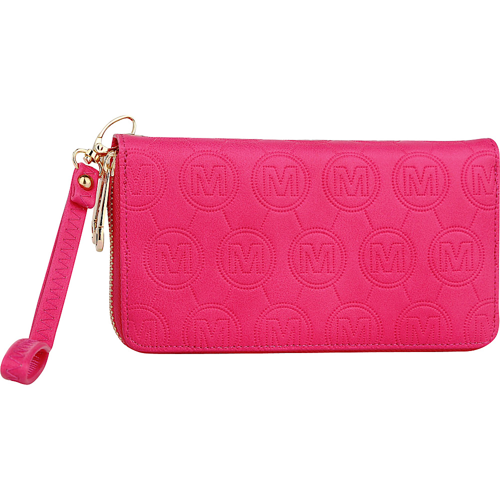 MKF Collection Samantha Embossed Signature Wallet Fuchsia - MKF Collection Manmade Handbags - Handbags, Manmade Handbags